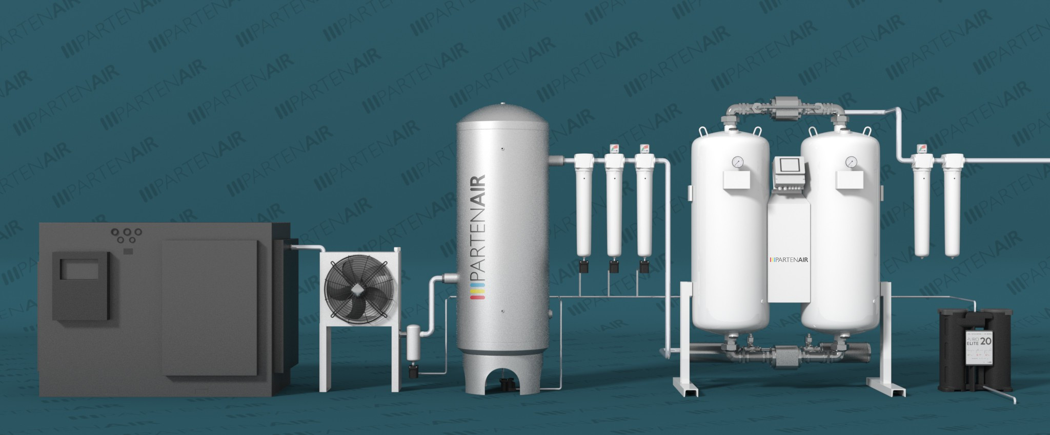 3D view of adsorption dryers heatless